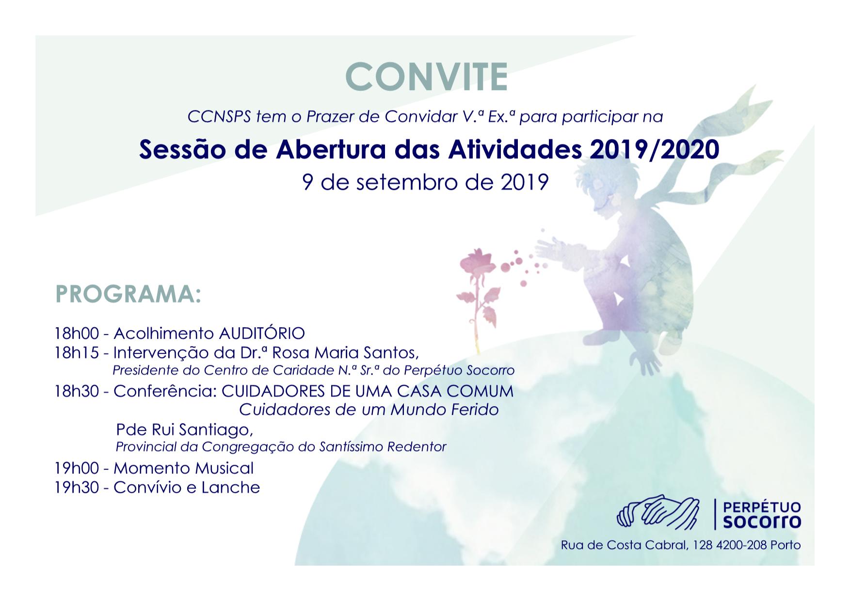 Convite Sessão de Abertura Ano Letivo 19/20